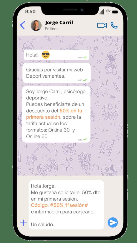 Iphone para solicitar el descuento del 50% por whatsapp